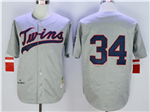 Minnesota Twins #34 Kirby Puckett 1969 Throwback Grey Jersey