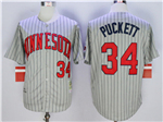 Minnesota Twins #34 Kirby Puckett 1987 Throwback Grey Pinstripe Jersey