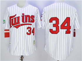 Minnesota Twins #34 Kirby Puckett 1991 Throwback White Pinstripe Jersey
