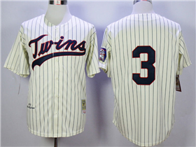 Minnesota Twins #3 Harmon Killebrew 1970 Throwback Cream Pinstripe Jersey