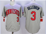 Minnesota Twins #3 Harmon Killebrew 1987 Throwback Grey Pinstripe Jersey
