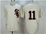 Chicago White Sox #11 Luis Aparicio 1959 Throwback Cream Pinstripe Jersey