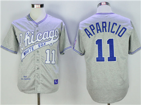 Chicago White Sox #11 Luis Aparicio Throwback Grey Jersey