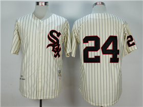 Chicago White Sox #24 Early Wynn 1959 Throwback Cream Pinstripe Jersey