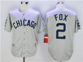 Chicago White Sox #2 Nellie Fox 1960 Throwback Grey Jersey