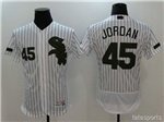 Chicago White Sox #45 Michael Jordan White Pinstripe 2017 Memorial Day Flex Base Jersey