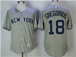 New York Yankees #18 Didi Gregorius Road Gray Flex Base Jersey