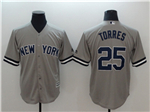 New York Yankees #25 Gleyber Torres Gray Cool Base Jersey