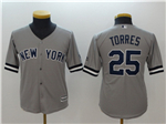 New York Yankees #25 Gleyber Torres Youth Gray Cool Base Jersey