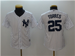 New York Yankees #25 Gleyber Torres Youth White Cool Base Jersey