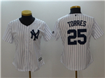 New York Yankees #25 Gleyber Torres Women's Home White Cool Base Jersey