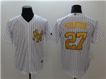 New York Yankees #27 Giancarlo Stanton White Gold Cool Base Jersey