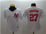 New York Yankees #27 Giancarlo Stanton Women's White Monther's Day Cool Base Jersey