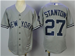 New York Yankees #27 Giancarlo Stanton Youth Gray Cool Base Jersey