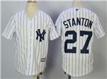 New York Yankees #27 Giancarlo Stanton Youth White Cool Base Jersey