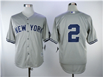 New York Yankees #2 Derek Jeter Gray without Name Cool Base Jersey