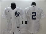 New York Yankees #2 Derek Jeter White Without Name 2020 Cool Base Jersey