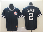 New York Yankees #2 Derek Jeter Black Throwback Jersey