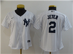 New York Yankees #2 Derek Jeter Women's White 2020 Cool Base Jersey
