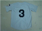 New York Yankees #3 Babe Ruth White Pinstripe Throwback Jersey