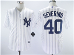 New York Yankees #40 Luis Severino White Pinstripe Cool Base Jersey