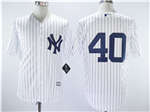 New York Yankees #40 Luis Severino White Pinstripe without Name Cool Base Jersey