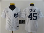 New York Yankees #45 Gerrit Cole Youth White 2020 Cool Base Jersey