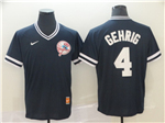 New York Yankees #4 Lou Gehrig Black Throwback Jersey
