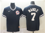 New York Yankees #7 Mickey Mantle Black Throwback Jersey