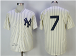 New York Yankees #7 Mickey Mantle 1951 Cream Throwback Jersey