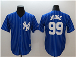 New York Yankees #99 Aaron Judge Blue Pinstripe Cool Base Jersey