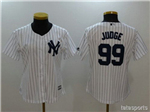 New York Yankees #99 Aaron Judge Women's Home White Cool Base Jersey
