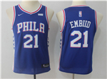 Philadelphia 76ers #21 Joel Embiid 2017/18 Youth Blue Jersey