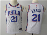 Philadelphia 76ers #21 Joel Embiid 2017/18 Youth White Jersey