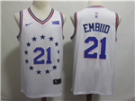 Philadelphia 76ers #21 Joel Embiid 2018/19 White Earned Edition Swingman Jersey
