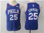 Philadelphia 76ers #25 Ben Simmons 2017/18 Youth Blue Jersey