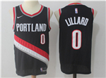 Portland Trail Blazers #0 Damian Lillard Black Authentic Jersey