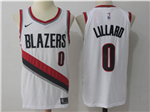 Portland Trail Blazers #0 Damian Lillard White Authentic Jersey