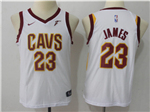Cleveland Cavaliers #23 LeBron James 2017/18 Youth White Swingman Jersey