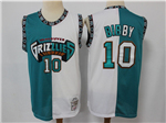 Vancouver Grizzlies #10 Mike Bibby Teal White Split Hardwood Classic Jersey