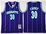 Charlotte Hornets #30 Dell Curry Purple Hardwood Classic Jersey