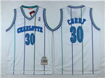 Charlotte Hornets #30 Dell Curry White Hardwood Classic Jersey