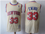 New York Knicks #33 Patrick Ewing Cream Hardwood Classics Jersey