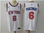 New York Knicks #6 Kristaps Porzingis White Authentic Jersey