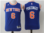 New York Knicks #6 Kristaps Porzingis Youth Blue Jersey