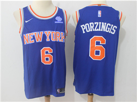 New York Knicks #6 Kristaps Porzingis 2017/18 Blue Authentic Jersey
