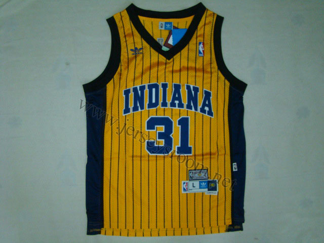 Indiana Pacers  31 Reggie Miller Gold Pinstripe Jersey-TTE Trading ... 50e94fb91
