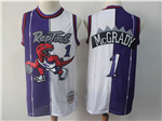 Toronto Raptors #1 Tracy McGrady 1998-99 Purple White Split Hardwood Classics Jersey