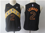 Toronto Raptors #2 Kawhi Leonard Youth Black City Edition Swingman Jersey