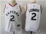 Toronto Raptors #2 Kawhi Leonard Youth White Swingman Jersey